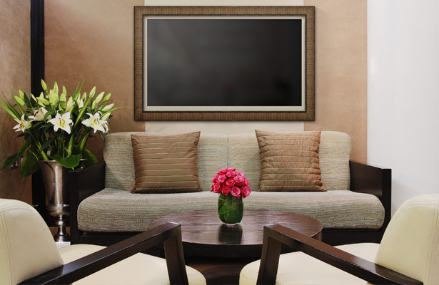 Boulevard Taupe TV Frame with Beige Matting